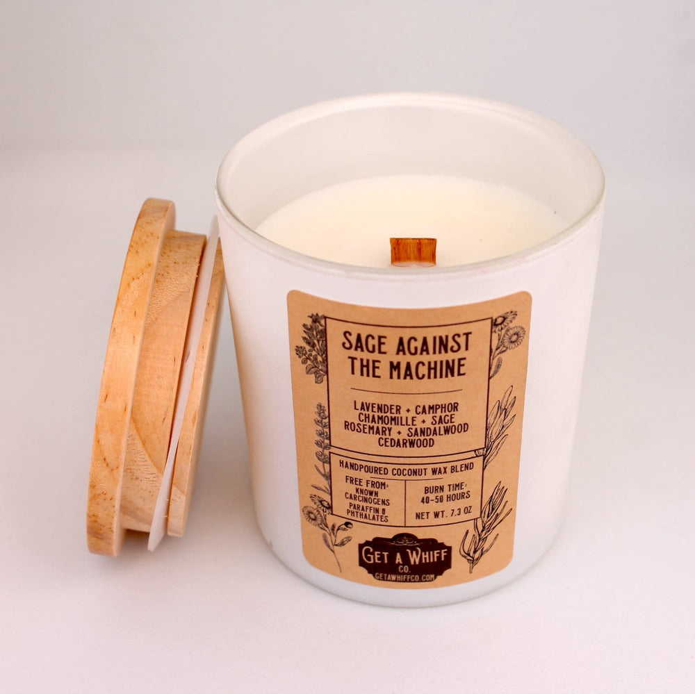 Sage & Lavender Wood Wick Candle | Lavender Candle | Crackling Candle | Coconut Wax Candle | Jar Candle | Sage Against The Machine