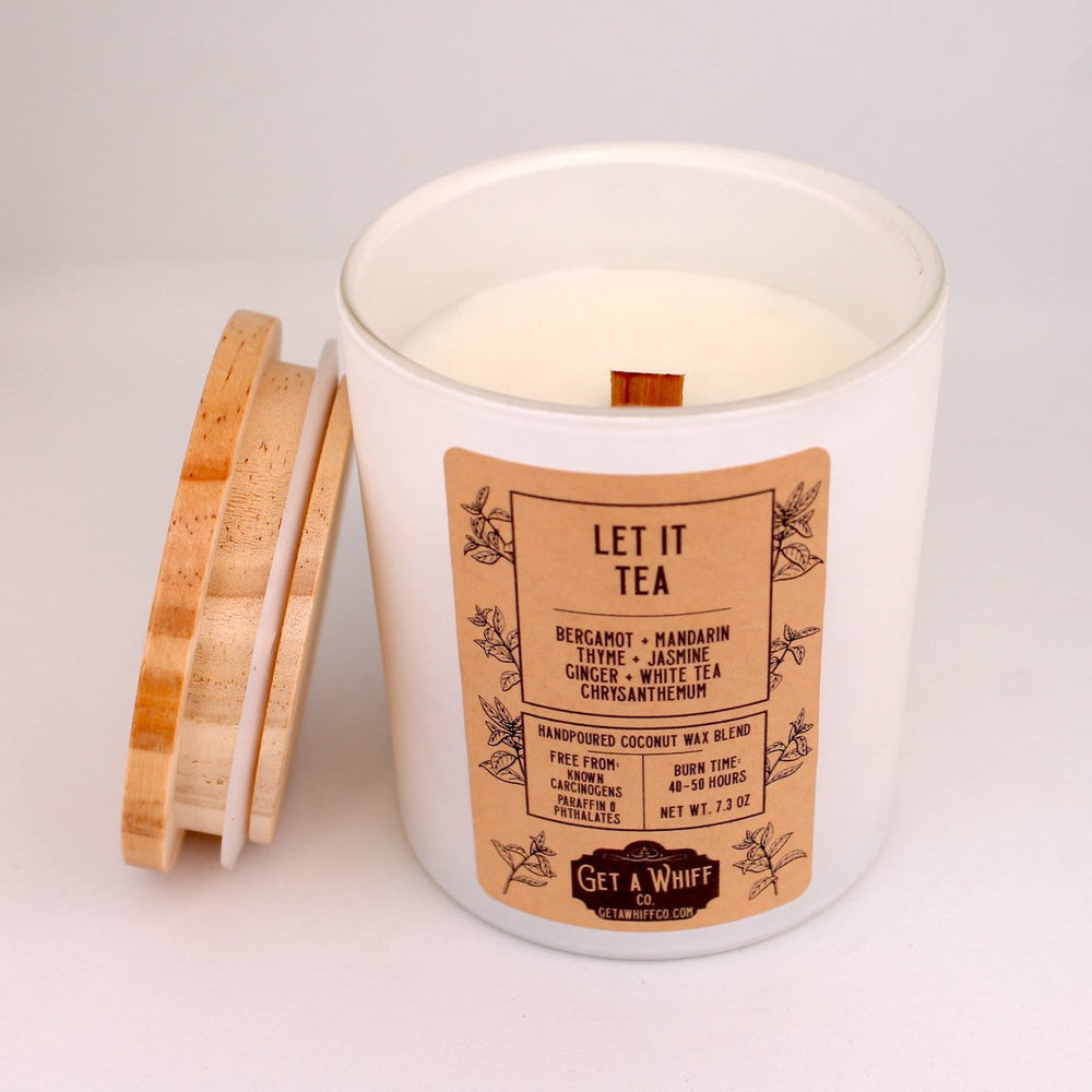 White Tea Wood Wick Candle | Spa Candle | Crackling Candle | Coconut Wax Candle | Jar Candle | Glass Candle | Let It Tea