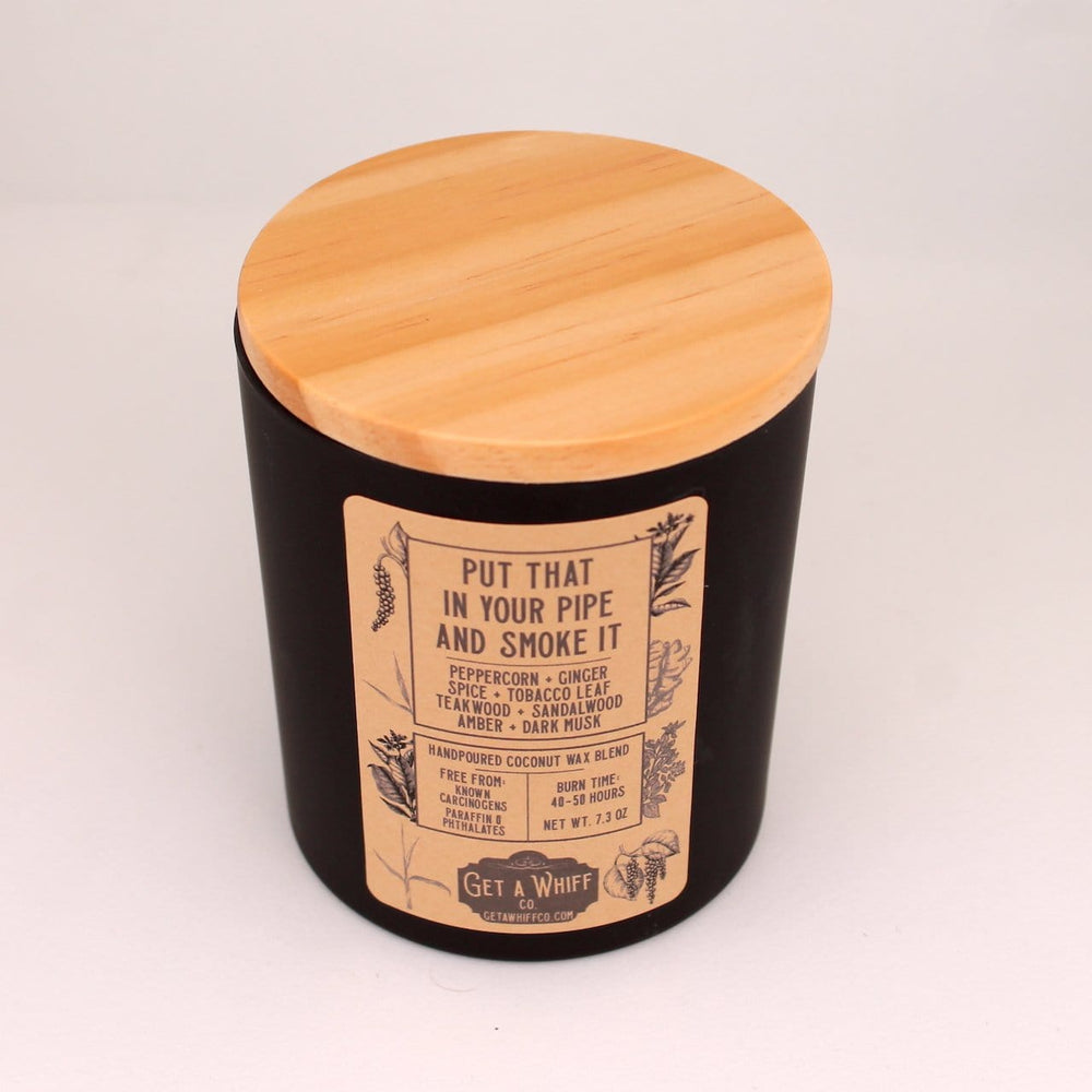 Tobacco & Teakwood Wood Wick Candle | Manly Candle | Crackling Candle | Coconut Wax Candle | Jar Candle | Put That In Your Pipe And Smoke It - Get a Whiff Co.
