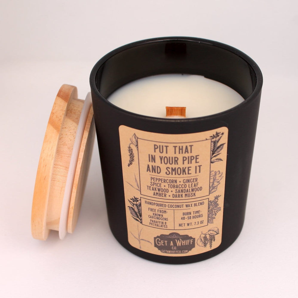 Tobacco & Teakwood Wood Wick Candle | Manly Candle | Crackling Candle | Coconut Wax Candle | Jar Candle | Put That In Your Pipe And Smoke It