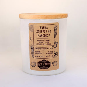 Coconut Milk & Mango Wood Wick Candle | Spring Candle | Crackling Candle | Coconut Wax Candle | Jar Candle | Wanna Squeeze My Mangoes?