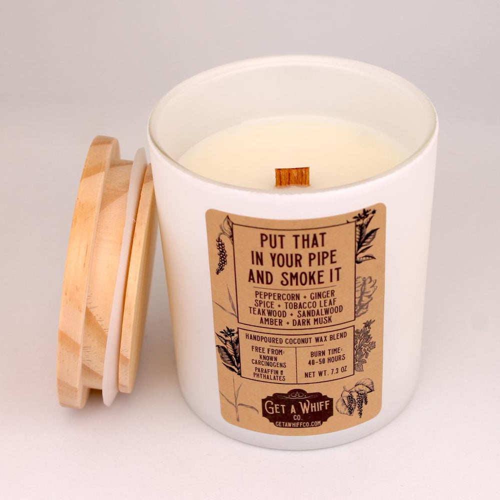 Load image into Gallery viewer, Tobacco & Teakwood Wood Wick Candle | Manly Candle | Crackling Candle | Coconut Wax Candle | Jar Candle | Put That In Your Pipe And Smoke It - Get a Whiff Co.