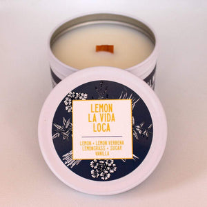 Load image into Gallery viewer, Lemon Candle | Lemon Verbena Candle | Crackling Candle | Coconut Wax Candle | Tin Candle | Mini Candle | Lemon La Vida Loca | 5.5 Oz - Get a Whiff Co.