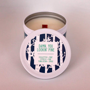 Wood Scented Candle | Pine Candle | Crackling Candle | Coconut Wax Candle | Tin Candle | Mini Candle | Damn, You Lookin' Pine | 5.5 Oz - Get a Whiff Co.
