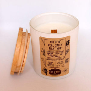 Cranberry Pine Wood Wick Candle | Fall Candles | Crackling Candle | Coconut Wax Candle | Jar Candle | You Bein' Real Saucy Right Now