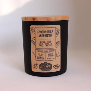 Chocolate Wood Wick Candle | Fudge Candle | Crackling Candle | Coconut Wax Candle | Jar Candle | Chocoholics Anonymous