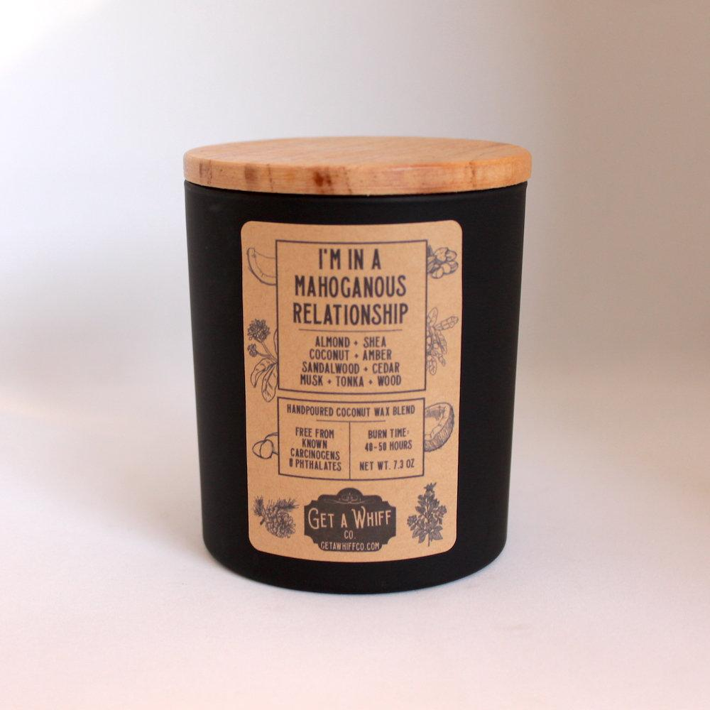 Mahogany & Shea Wood Wick Candle | Wood Scented Candle | Crackling Candle | Coconut Wax Candle | Jar Candle | In A Mahoganous Relationship