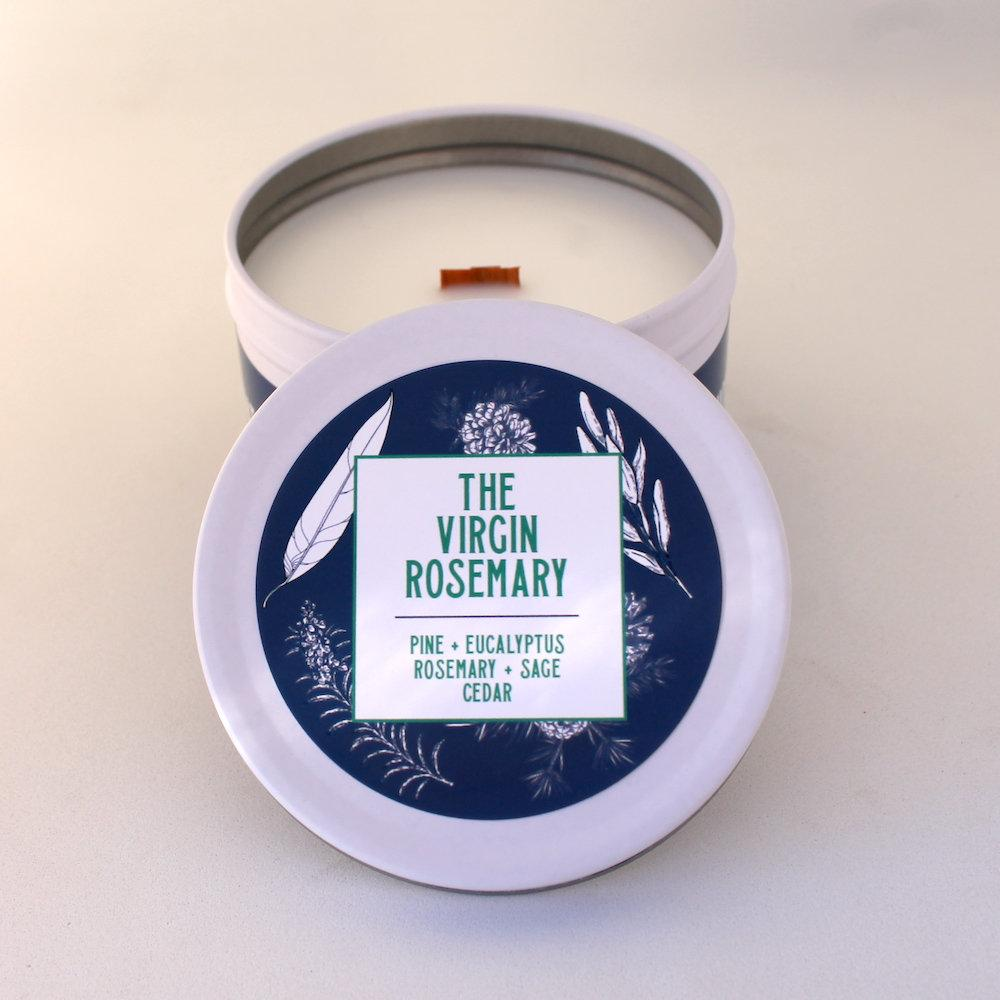 Rosemary Candle | Pine Candle | Crackling Candle | Coconut Wax Candle | Tin Candle | Mini Candle | The Virgin Rosemary | 5.5 Oz - Get a Whiff Co.