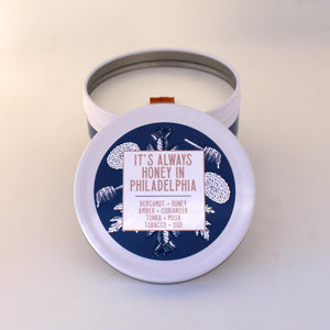 Tobacco Candle | Sweet Scented Candle | Crackling Candle | Coconut Wax Candle | Tin Candle | Mini Candle | Honey In Philadelphia | 5.5 Oz