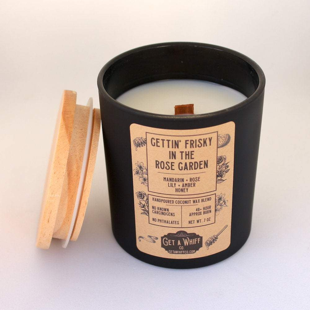 Rose Wood Wick Candle | Flower Candle | Spring Candle | Crackling Candle | Coconut Wax Candle | Jar Candle | Frisky In The Rose Garden