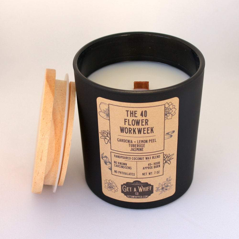 Gardenia Wood Wick Candle | Flower Candle | Spring Candle | Crackling Candle | Coconut Wax Candle | Jar Candle | The 40 Flower Workweek