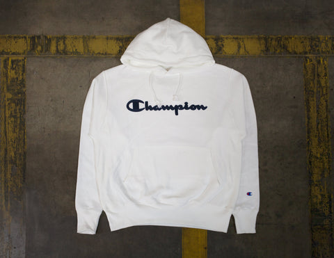 Champion Life Reverse Weave White Pullover Hoodie Script Logo