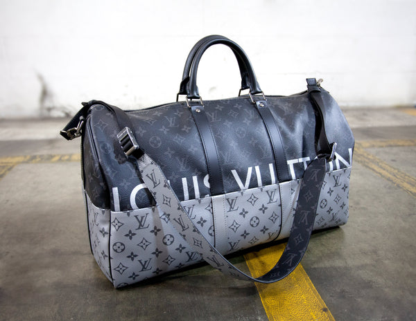 Louis Vuitton Logo Black Grey Luggage Bag Size 50