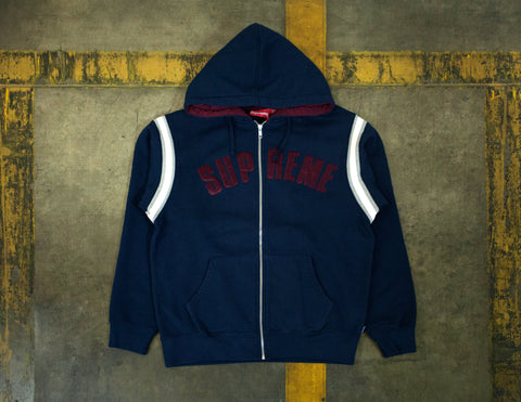 Supreme Jet Sleeve Zip Up Hooded Sweatshirt Navy