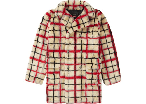 Supreme Jean Paul Gaultier Double Breasted Plaid Faux Fur Coat OffWhite