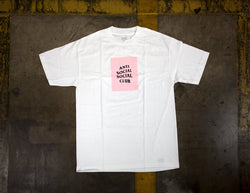 Antisocial Social Club Box Logo Tee White Pink