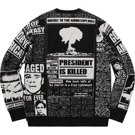 Supreme Newsprint Sweater Black