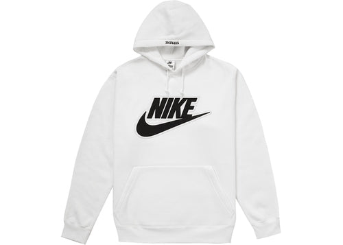 Supreme Nike Leather Applique Hooded Sweatshirt White