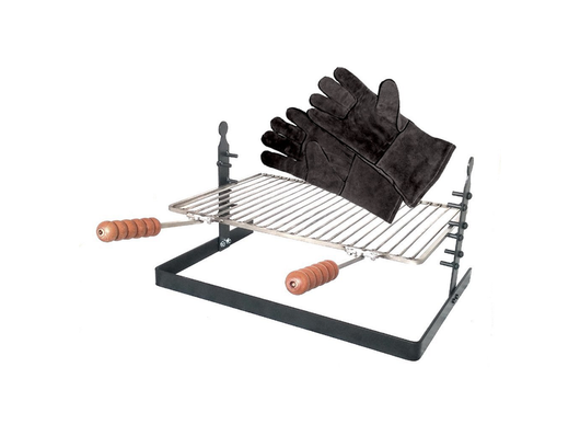 SpitJack Adjustable Fireplace & Camping Grill with Fireplace Gloves