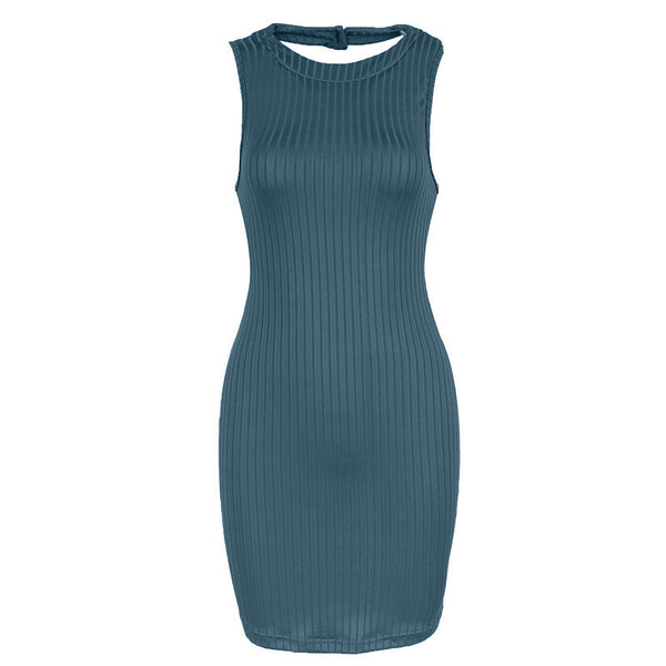 Olive Green Stripped Halter Dress