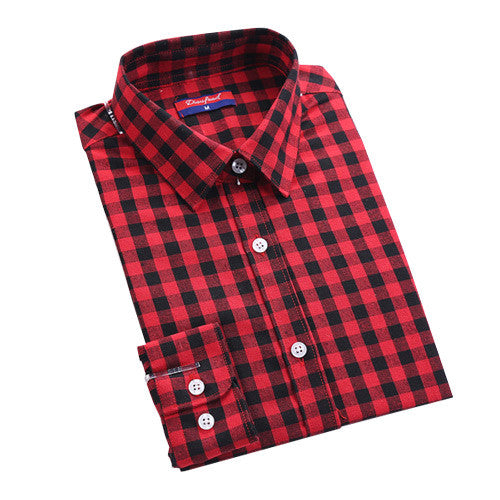 Long Sleeve Turn-down Collar Plaid Shirt