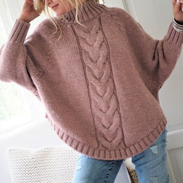 Chic Autumn Sweater Office Lady Batwing Sleeve