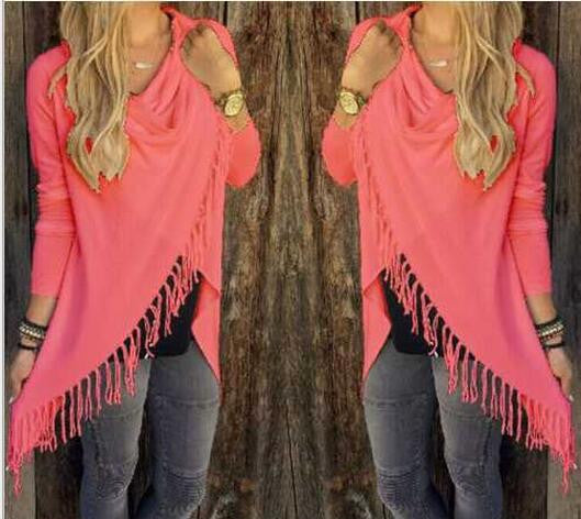 Tassel Sweater Women Long Sleeve Wrap Fringe