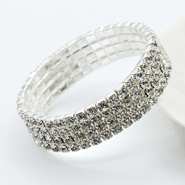 Elegant Full Drill Rhinestone Stretch Bracelet Fashion Jewelry