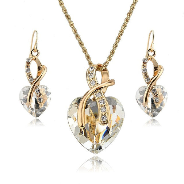 Jewelry Sets For Women Crystal Heart Necklace and Earrings