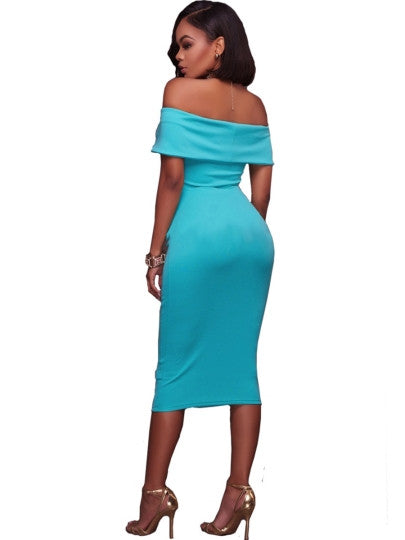 Light Blue Slash Neck Ruffle Women's Bodycon Dress
