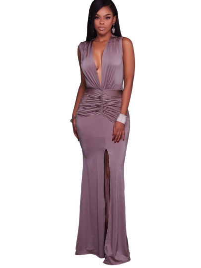 Plain Deep V Neck Split Women's Maxi Dress