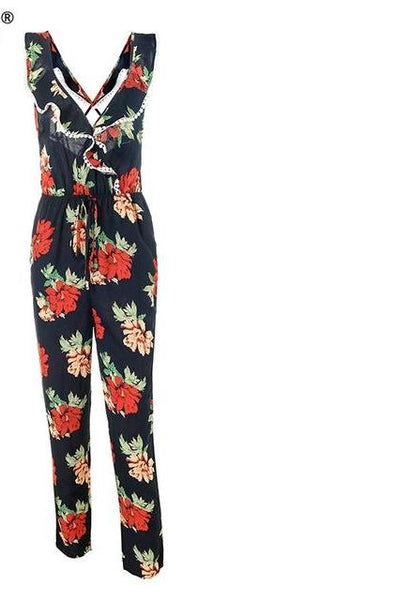 Cute Ruffle V neck Floral Jumpsuit