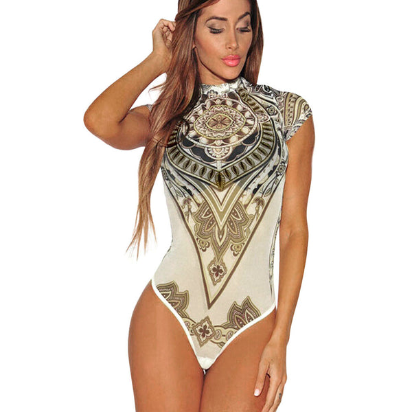 Sexy Print Voile Perspective Bodysuit