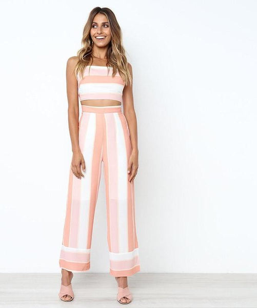 Sweet Elegant Striped Backless Jumpsuit Set