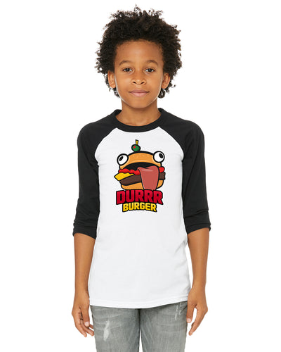 Fortnite Durrr Burger Kids/Youth/Toddler 3/4 Length Raglan Baseball T Shirt