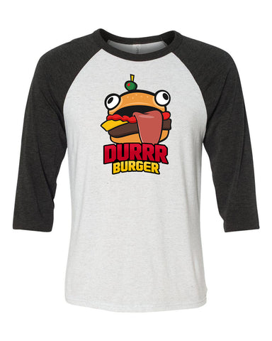 Fortnite Durrr Burger Unisex 3/4 Length Baseball Shirt