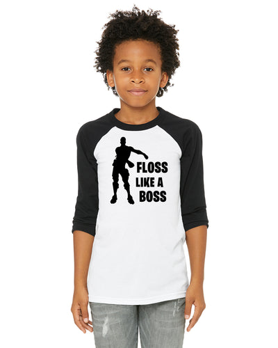 Fortnite Floss Like A Boss Kids/Youth/Toddler 3/4 Length Raglan Baseball Shirt