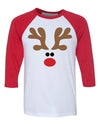 Reindeer Christmas 3/4 Length Baseball Raglan T shirt