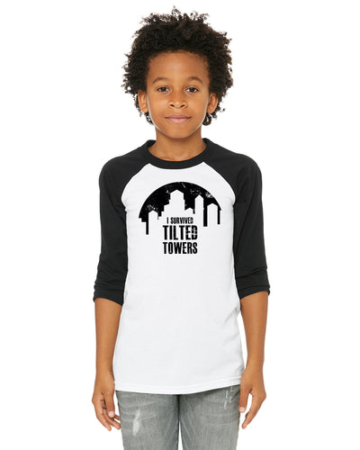 Fortnite I Survived Tilted Towers Kids/Youth/Toddler Baseball Shirt