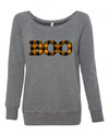 Boo Plaid Womens Wideneck Sweatshirt