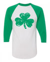 Shamrock saint patricks day shirt for toddlers 3/4 sleeves