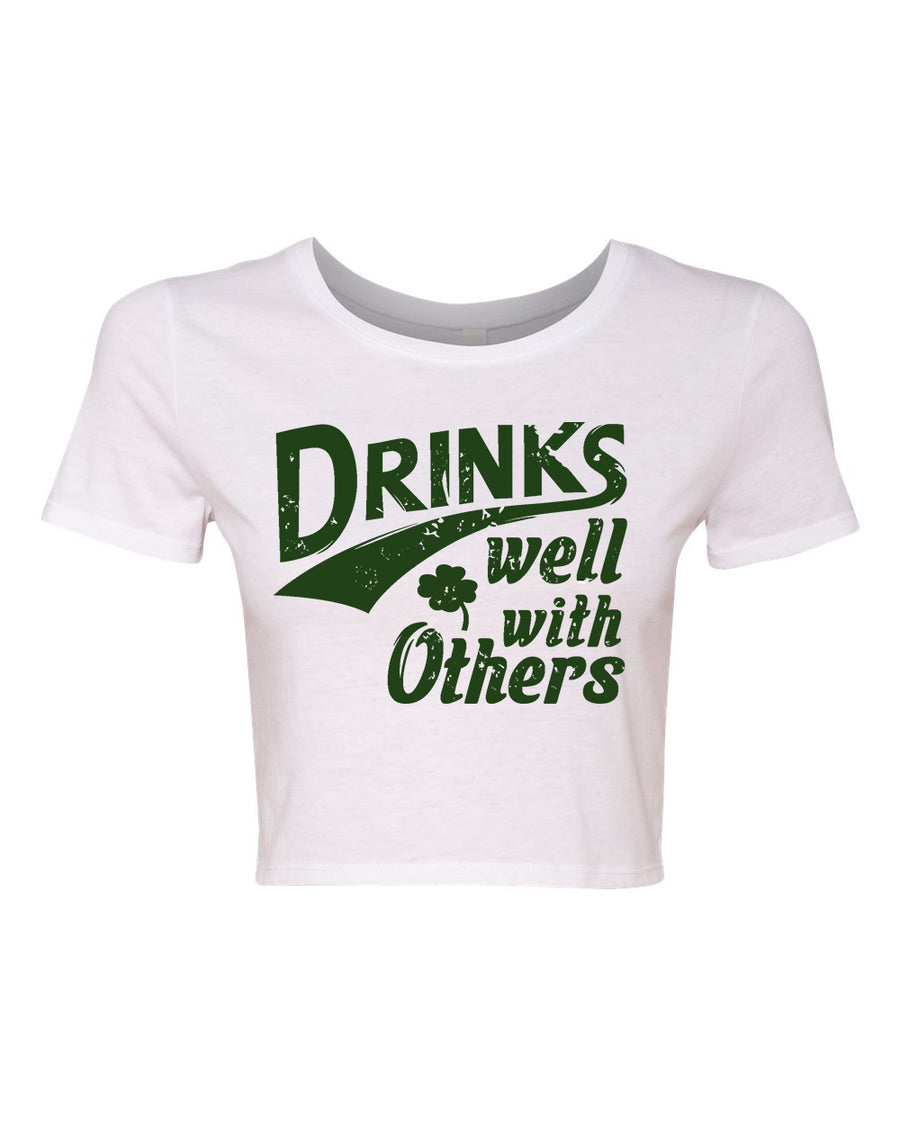 d641526307a213 Drinks Well With Others Irish St Pattys Day Crop Top