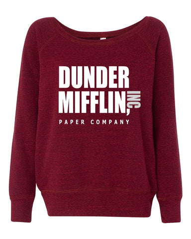 Dunder Mifflin The Office Inspired Women's  Wide Neck Sweatshirt