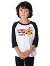 Gobble Til You Wobble Kids Baseball Shirt