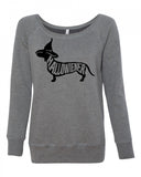 "Halloween Wiener Dog ""Hallowiener"" Women's Wideneck sweatshirt"