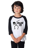 Killing it Halloween Dabbing Skeleton Father Son Matching Halloween shirts Toddler and Youth Sizing