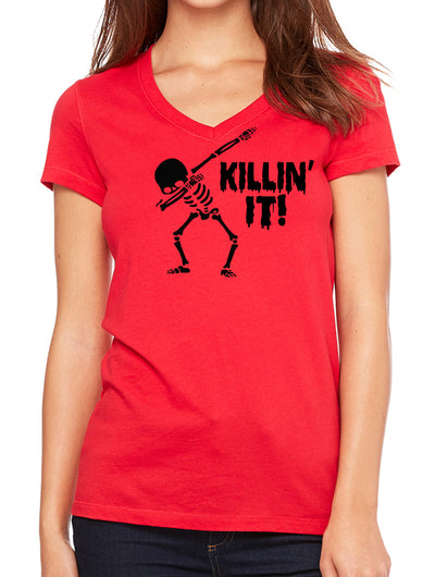 Killin' It Dabbing Skeleton Womens V-Neck T-Shirt