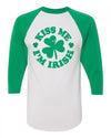 Kiss me I'm Irish Saint Patricks day baseball tee womens mens