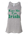 Kiss me I'm Irish Distressed St Patricks Day Tank Top Womens