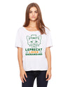 Leprecat Loves Shenanigans Womens Flowey T-Shirt